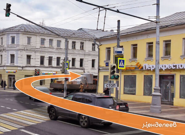 Въёзд на парковку. Поверните на ул. Новослободская на ул. Палиха